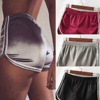 New Women Sexy Shorts Summer Silk Slim Beach Casual Running Gym White Edge Pants