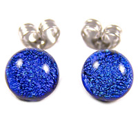 "DICHROIC GLASS Post EARRINGS Tiny 1/4"" 7mm Cobalt Sapphire BLUE Fused STUD Dots"