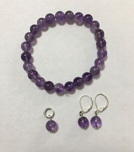 Natural Real Amethyst Stone Earrings Pendant Stretchable Bracelet Set Silver