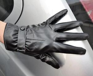 Men's Black PU Leather Touch Screen Winter Wrist Gloves Driving Gloves 3 Lines