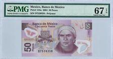 Mexico 50 Pesos 2004 PMG 67 EPQ s/n D7539358 Serie A POLYMER