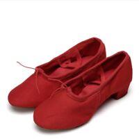 Women Teacher Ballroom Ballet Latin Practice Dance Shoes Round Toe Mid Heels