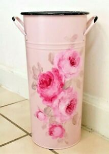 French Bucket metal enamel shabby hand painted chic roses pink pail flower