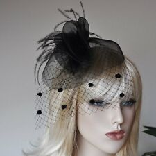 ACCONCIATURA Fascinator VELO PUNTINI accessorio per capelli rete PIUME