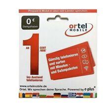 AKTIV Ortel Mobile O2-E-Plus Netz Deutsche SIM Karte REGISTRIERT AKTIVIERT +49
