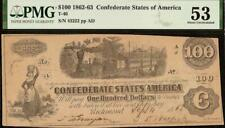 1862 $100 DOLLAR BILL CONFEDERATE STATES CURRENCY CIVIL WAR NOTE T-40 PMG 53