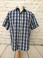 Jeep Men's Short Sleeve Blue Checked Shirt Size M