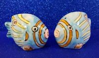 HAND PAINTED STRIPED CERAMIC FISH SALT AND PEPPER SHAKERS - EXCELLENT COND.