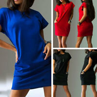 Women Ladies Short Sleeve T-Shirt Top Casual Pockets Short Mini Dress S-2XL US