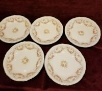 Theodore Haviland New York Set of 5 Soup Bowls Pink Yellow Roses Gold Trim