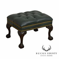 Mckinley Green Tufted Leather Chippendale Style Ball & Claw Stool Ottoman