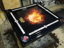 Flaming Basketball Domino Table by Domino Tables by Art, add your name free!