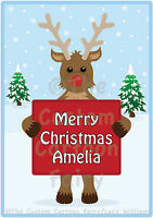 Personalised Christmas Iron On T-shirt/Tote Bag Transfer printed on A5-Reindeer