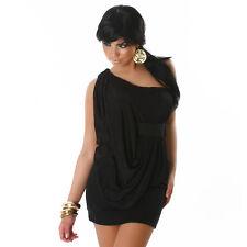 sexy Abend Minikleid One Shoulder Party Clubwear Kleid Lagenlook schwarz Gr. M