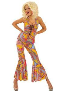 70's Disco Diva Vintage Groovy Funky Jumpsuit  Ladies Fancy Dress Costume S-L