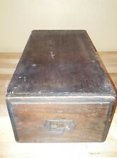 Old Wooden Drawer Index Card Holder Pull Filing Cabinet Office Vintage / Retro