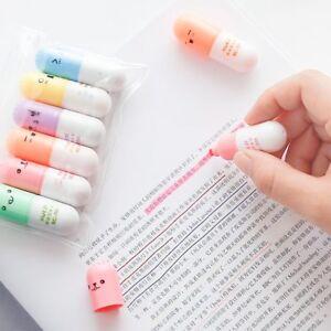 Capsules Highlighter Vitamin Pill Highlight Marker Color Pens Office Supplies