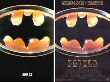 BATMAN 1989 ADVANCE & REGULAR STYLES ORIGINAL ROLLED MINT 1 SHEET MOVIE POSTERS
