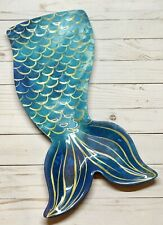 "MERMAID TAIL MELAMINE SERVING PLATTER 18x8"" Aqua & Gold New with Tags!"