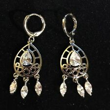 Marquise & pear sim diamond white gold filled drop dangle earrings Plum UK Boxed