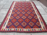 Kilim Vintage Traditional Hand Made Oriental Large Kilim Red Wool 307x200cm
