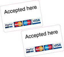 2x acceptés ici paypal visa mastercard Maestro lecteur de carte stickers supplémentaire