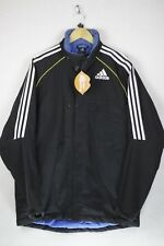 Mens ADIDAS Jacket Coat FOOTBALL PADDED Zipper LOOSE Fitting Medium BLACK DN1RL
