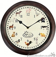 FARM ANIMAL SOUNDS CHIMING WALL CLOCK pig cow horse duck goat lover gift, boxed