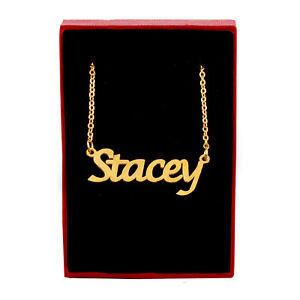 STACEY Name Necklace Stainless Steel / 18ct Gold Plated | Bridal Birthday Gifts