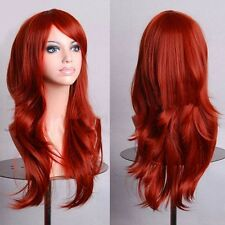 Fashion Womens Wig Long Straight Curly Wave Full Wigs Pink Yellow White Purple