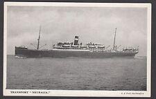 Postcard troopship Transport Neuralia published by Pratt of Southampton