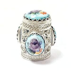 """Silvered filigree Thimble with finift, round enamel """"Flowers on blue"""""""