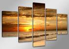 Tableau coucher de soleil plage moderne 5 partie Image sur toile 200 x 100 cm