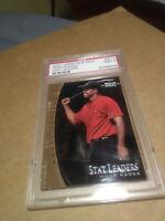 Tiger Woods PSA MINT 9 2001 RC Upper Deck Golf Stat Leader #SL17