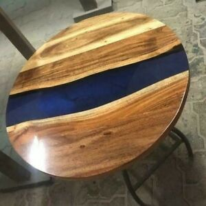 """30"""" Epoxy Resin Wooden Center coffee Round Table Top Home Office Decor"""