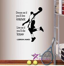 Vinyl Decal LeBron James Quote Basketball Player Dunk Boy Man Wall Sticker 348