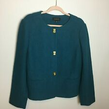 Talbots Size 12 Wool Blend Blazer Jacket Rich Teal Blue Fitted Gold Buttons
