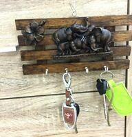 Key Holder Wall Mounted Wooden Vintage Elephant Style Key Hook Hanger Home Decor