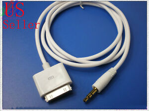 3ft 30-pin for iPod iPhone ip ad connector to 3.5mm Aux-In Audio Plug Cable