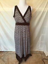 Women's Apt 9 Brown and White Geographic Print Dress Size Medium Sleeveless