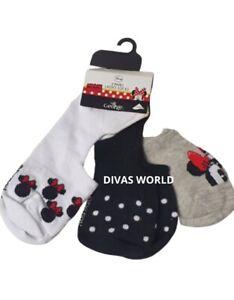 Disney Minnie Mouse 3 Pairs Ladies Socks  Trainer Socks BNWT PRIMARK