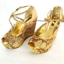 "TED BAKER ""LEUZEA"" YELLOW/BROWN SNAKEPRINT LEATHER CORK WEDGE HIGH HEELS 7 us"