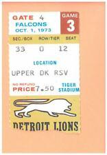 Atlanta Falcons @ Detroit Lions 10-1-1973 NFL VINTAGE ticket stub Tiger Stadium