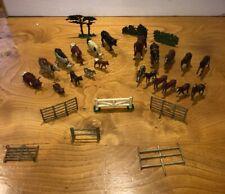 Britains Lead Farm Animals Johillco T&B Charbens Cows Horses Fences And Trees
