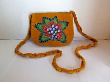 BEADED PURSE, HAND MADE NATIVE AMERICAN, BLUEBERRY, LEATHER, MOOSE HIDE, ZIPPER