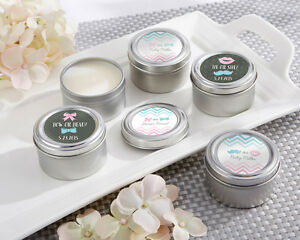24 Personalized Gender Reveal Round Candle Tins Baby Shower Favors