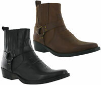 Leather Cowboy Pull On Western Harness Cuban Heel Mens Smart Ankle Boots UK 7-12