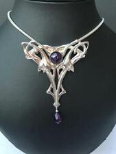 PENDANT ART NOUVEAU STYLE  FLOWING FLORAL DESIGN WITH AMETHYST STONES  STUNNING