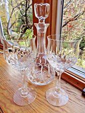 VINTAGE 80's LEAD CRYSTAL HEAVY WINE DECANTER 2 GLASSES SET W/ BONUS GLASS CLEAR