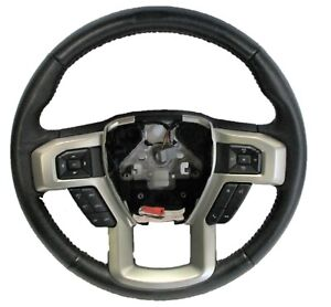 OEM 2017-2021 Ford F-250 Black Leather Steering Wheel LC3Z-3600-EB